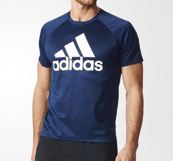 adidas originals-t-shirt D2M in blauw