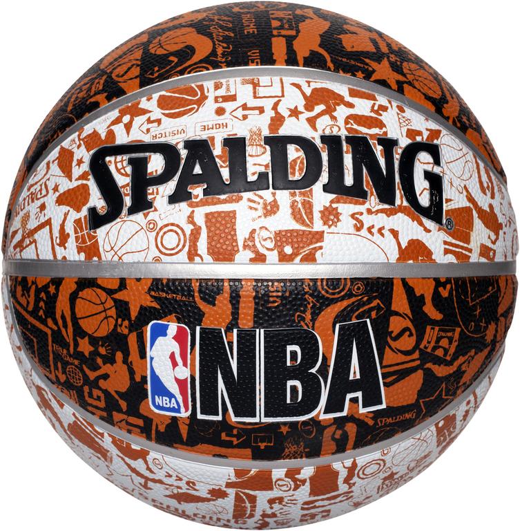 Basketbal NBA grafitti maat 7 grijs-blauw